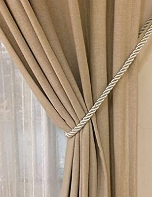 2 X MAGNETIC EASY USE CURTAIN DRAPE TIEBACKS HOLD BACKS SQUARE BROWN