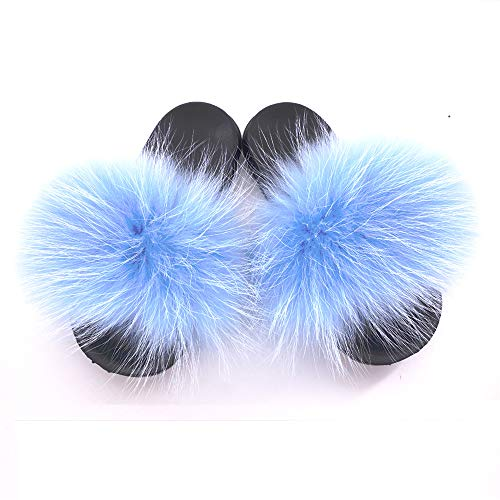 Manka Vesa Womens Luxury Real Raccon Fur Slippers Slides Indoor Outdoor Flat Soles Soft Spring Summer -