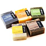 I & SOAP, 5pcs Mini Sampler Set (01) - Guest Soap - Travel Soap - 100% Natural & Organic Materials - Handcrafted Herbal Soap - Gentle and Effective Facial, Hand and Body Cleansing Soap Bars.