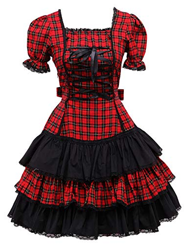Antaina Red Plaid Cotton Lace Ruffle Victorian Sweet Lolita Cosplay Dress,M