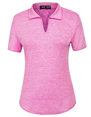 JACK SMITH Women's T-Shirt Tops with Short Sleeves (XXL,Rose) - Ladies Pima Pique Sport Shirt