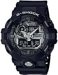Mens Casio G-Shock GA700 Black and Silver-Tone Resin Watch GA710-1A