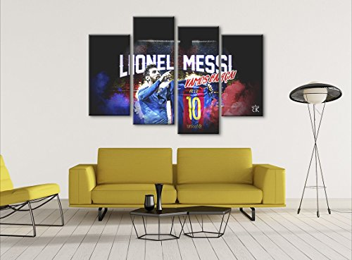 Lionel Messi Barcelona Soccer Sports Canvas || Modern Wall Art - Hand Made In The US - Framed And Ready To Hang by Canvas Kings