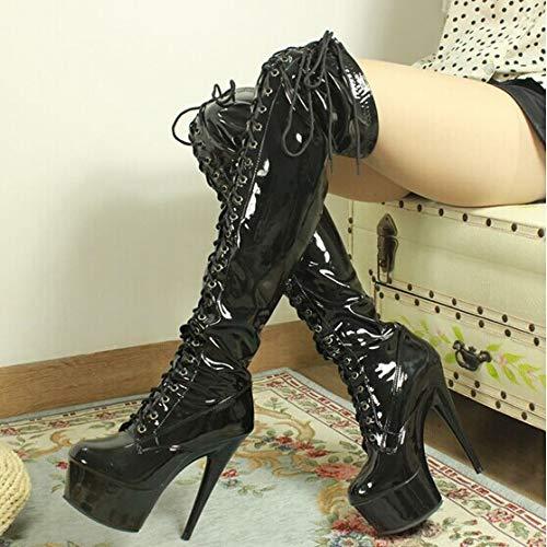High clubs boots Black bars dance 15CM heels night tube PqwP4H