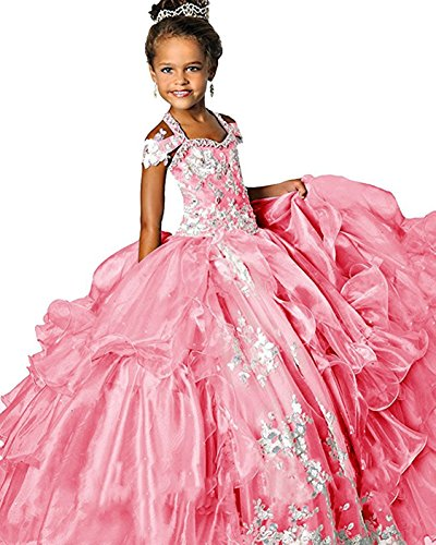 WZY Girls Halter Lace Appliques Ruffled Ball Gowns Princess Pageant Dress (12, Pink) by WZY