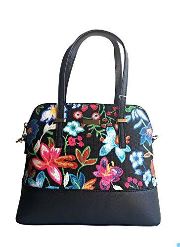 Women PU Leather Floral Print Shoulder Bag (Black) - 5