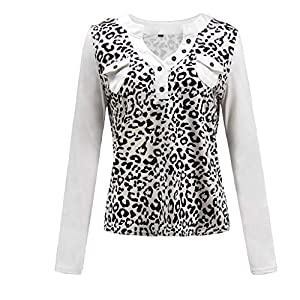 Rikay Womens Deep V Neck Leopard Print Tops Ladies Long Sleeve Button Sexy Casual Blouse T Shirt