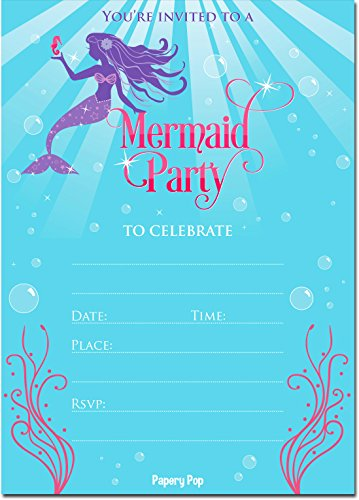 Mermaid Invitations with Envelopes (15 Count) - Mermaid Party Invitations - Kids Birthday Invitations for Girls