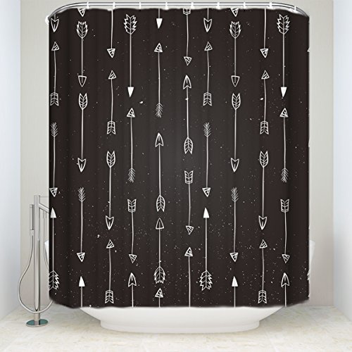 - Arrow Decor Collection, Indian Arrows Native Style Artwork for Hunters, Polyester Fabric Bathroom Shower Curtain Set with Hooks Extra Long 72(w) x84(h) inch