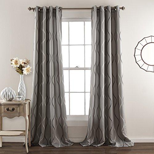 Lush Decor Swirl Room Darkening Window Curtain Panel (Set of 2), Gray (Curtains Gray Dark)