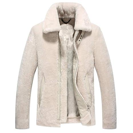 para Hombre Cálido Suave Blanco Piel De Oveja Piel Uno Chaquetas Abrigo De Lujo con Cremallera