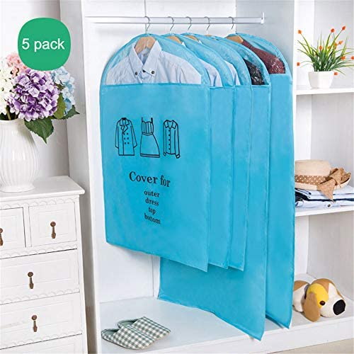 Clothes Dust Cover Garment BagsClear Window Moth-Proof Suit Bags Full Zipper for Storage and Car Travel for Coat Suit Dresses Seasonal Clothes Closet Storage5 PackBlueSL