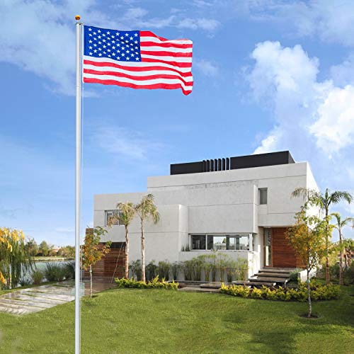 VINGLI Upgraded Sectional 25FT Flagpole,27~33mph 3'x5' Free US Flag Golden Ball Top Kit Halyard Rope PVC Sleeve, Flag Pole for Residential Garden Outdoors Décor]()