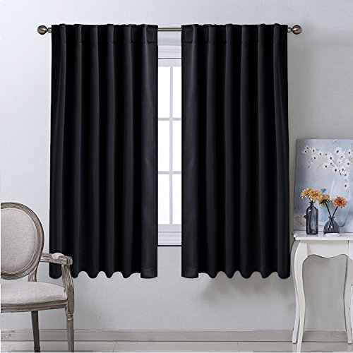 Pinch Pleated Drapery Panels (Blackout Curtain Blinds Window Panels - (Black Color) W52