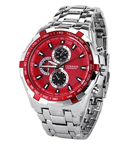CURREN Stylish Quartz Movt Stainless Steel Watchband Mens Wrist Watch-8023Rosegold (Red)