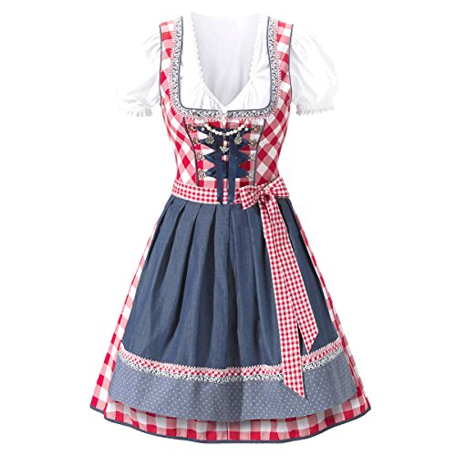 Traditional German Dress (Canvalite 3pcs Women's Traditional Dirndl Set - Dress, Blouse, Apron for Oktoberfest Carnival Theme Party)