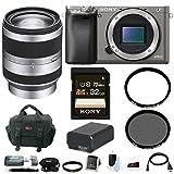 Sony Alpha A6000 Camera Body w/ 18-200mm Lens & Accessory Bundle - Graphite