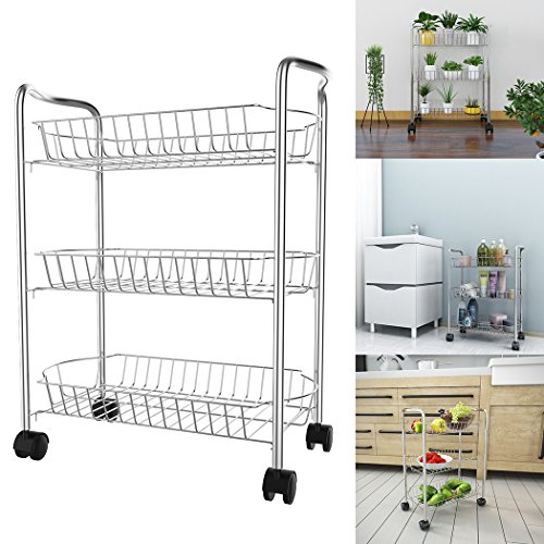 Wire Open Cart (Modrine 3-Tier Wire Rolling Cart,Multifunction Utility Cart Kitchen Storage Cart on Wheels,Steel Wire Basket Shelving Trolley,Easy moving,Silver)