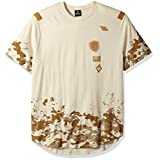 Southpole Men's Big and Tall Short Sleeve Crew Neck Scallop Tee with Patch and Prints, Bone, 3XL