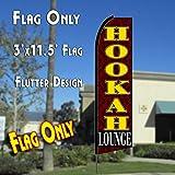 3 feet hookah - HOOKAH LOUNGE (Brown/Yellow) Flutter Feather Banner Flag (11.5 x 3 Feet)