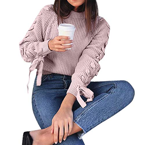 Joopee Women Long Sleeve Solid Sweater Cable Knit Round Neck Braided Lacing Loose Blouse(Free Size,Pink)