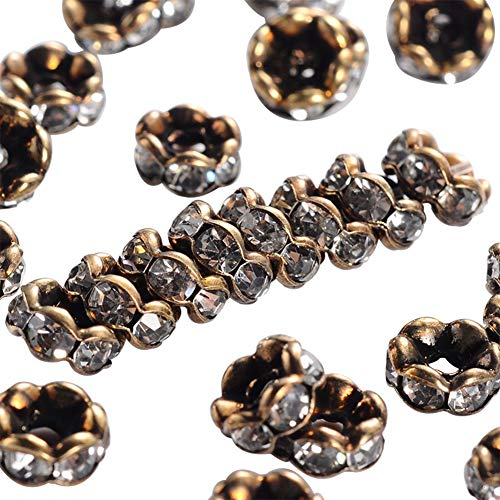 PH PandaHall About 200 Pcs 6mm Antique Bronze Plated Brass Rondelle Beads Wavy Edge Crystal Rhinestone Spacer Charm Bead for Jewelry Making