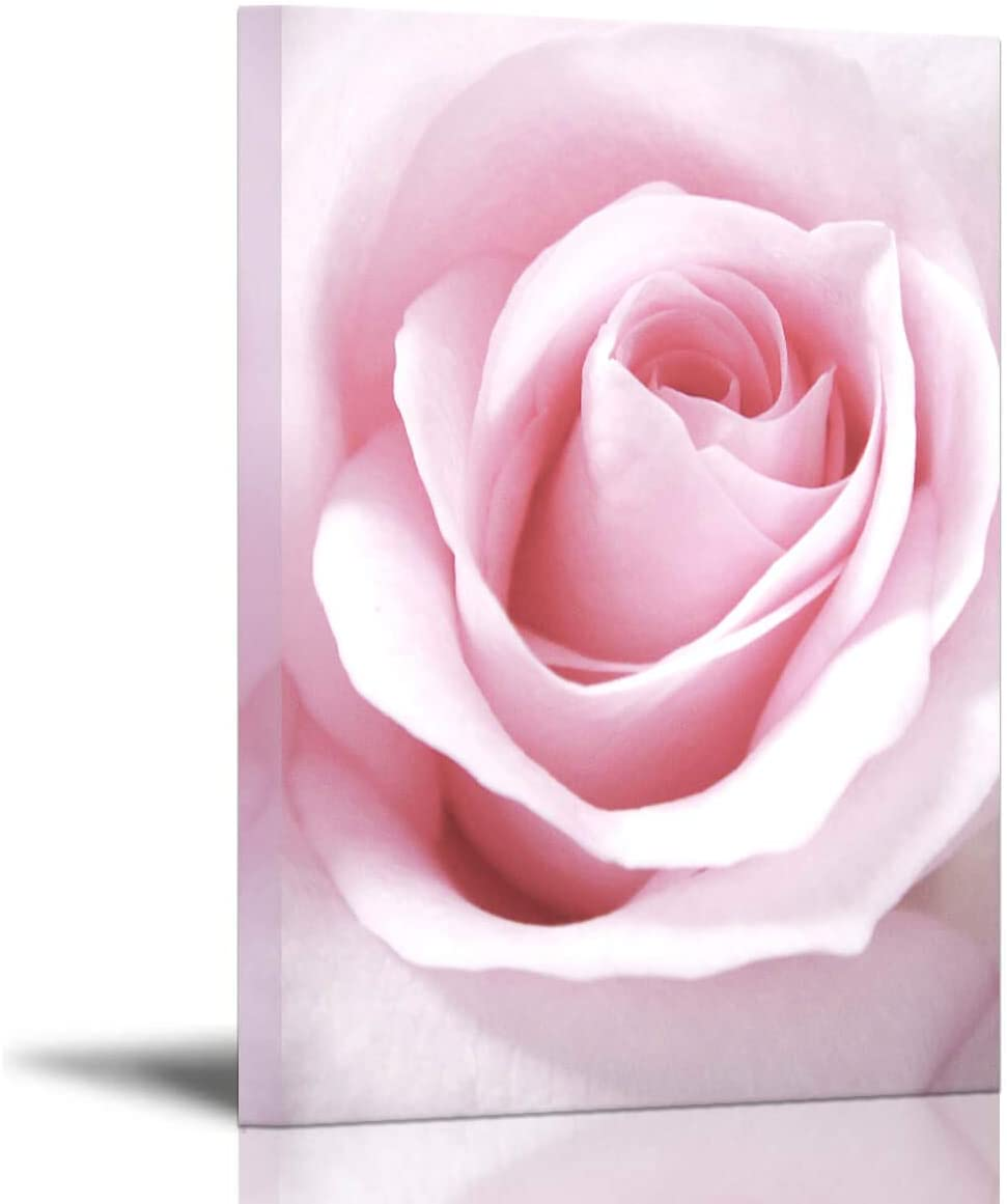 Bedroom Decor for Women Light Pink Rose Decor Canvas Art Flower Wall Decor Bathroom Wall Art Teen Girls Room Decor Gallery Wrapped Artwork for Walls Floral Wall Pictures Room Decorations 12x16inch