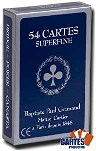 "Juego de 52 cartas : ""superfine"" bleu-Index : 4/regular [importado de Francia]"