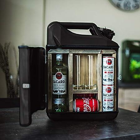 Mikamax – Jerrycan Mix Drink 20L – Bidón Whiskybar – Canister Bar - 20L - Negro – 46.5 X 34.5 X 14 Cm - con Dos Vasos Largos