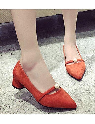 GGX/ Damenschuhe-High Heels-Lässig-Vlies-Niedriger Absatz-Absätze-Schwarz / Grau / Orange gray-us5.5 / eu36 / uk3.5 / cn35