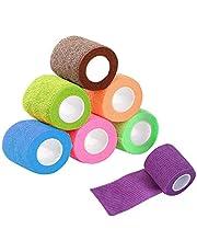 Lvcky 9 st sammanhängande bandage elastiskt självhäftande bandage husdjur wrap bandage självhäftande tejp självhäftande sammanhängande bandage självhäftande omslag för djur sport 6 x 4,5 cm x 5 m/3 x 2,5 cm x 5 m