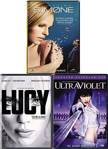 The Star Women Sci-Fi 3 Movie DVD Pack Ultraviolet Milla Jovovich / S1M0NE Al Pacino / Lucy Scarlett Johansson Movie Bundle Triple Feature Simone Thrill ride set
