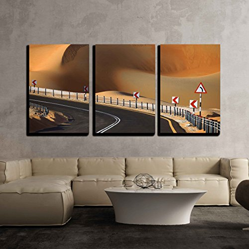 wall26 - 3 Piece Canvas Wall Art - Desert Road and Dunes in Liwa, United Arab Emirates - Modern Home Decor Stretched and Framed Ready to Hang - 24''x36''x3 Panels by wall26