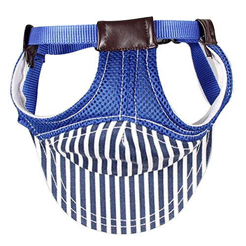 Cotton Dog Visor - Happy Hours - Cotton Breathable Sunproof Stripes Visor Pets Travelling Cap / Outdoor Mesh Cloth Dogs Baseball Cap / Cute Adjustable Chin Strap with Two Ear Holes Sunhat S size(Blue)