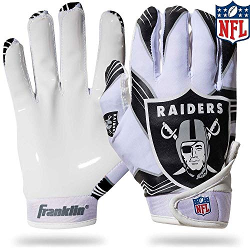 - NFL Oakland Raiders Youth Receiver Gloves,White,Medium