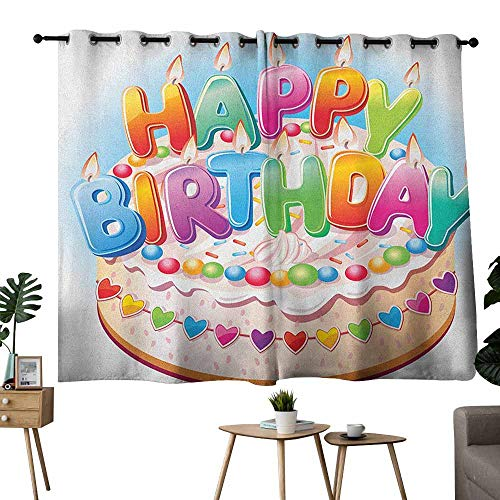 Mannwarehouse Kids Birthday Decorative CurtainsforLivingRoom Cartoon Style Happy Birthday Party Image Cake Candles Hearts Design Print for Living, Dining, Bedroom (Pair) 55