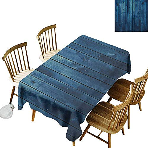 DONEECKL Dark Blue Durable Tablecloth Washed Wooden Planks Texture Image Board Floor Wall Lumber Rustic Country Life Pale Blue Dark Blue W70 xL102