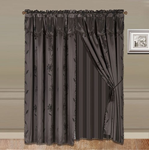 GorgeousHomeLinen 8 PC Nada Luxury Faux Jacquard Floral Design Panel, Rod Pocket Window Curtain Set Attached Valance, Panel, And Sheer- 2 Tie Backs Included (108