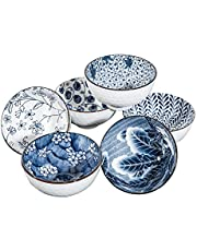 Swuut Japanese Style Ceramic Cereal Bowls,10 Ounces Salad,Soup,Blue and White Rice Bowl Set,Set of 6(4.5 inch)