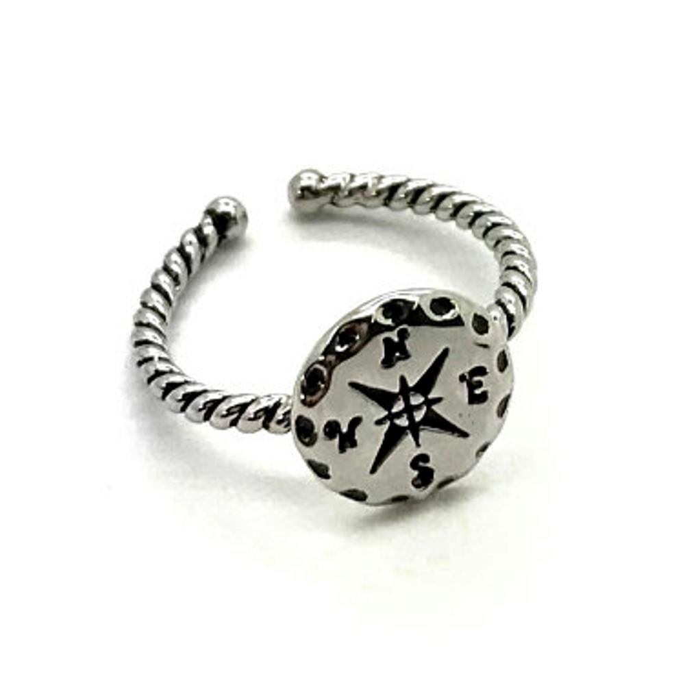 Doodle Beads Compass Ring Silver, Travel Gift, Nautical Gift, Journey Gift, Follow your compass, adjustable ring, gift box packaging