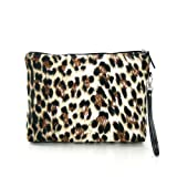 Fashion Safari Leopard Print Large Canvas Cosmetic Make-up Beauty Purse Pouch Clutch