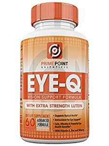 EYE-Q Powerful Vision Support Advanced Formula with Extra Strength Lutein, Bilberry, Vitamin A and Zinc, BEST Support for Retina and Macula with Vitamins and Antioxidants 60 Tablets