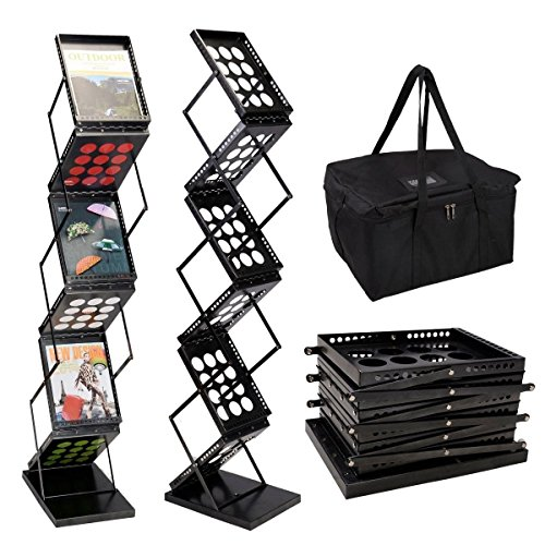 6 Pocket Pop-Up Literature Rack Folding Foldable Brochure Rack Magazine Display Holder Portable Trade Show Wall Stand Collapsible Metallic -