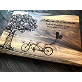 Tree Double Bicycle Personalized Engraved custom Cutting Board Family Wedding Gift, Anniversary Gifts, Housewarming Gift,Birthday Gift custom06