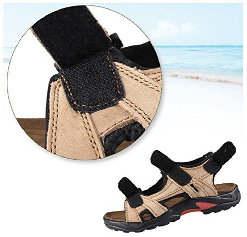 Athletic Leather Sandals Hanxue Mens Shoes Plus Khaki Size wqBXtz