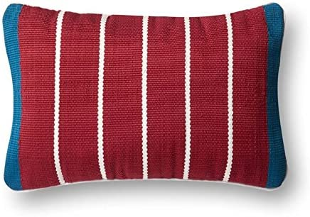 Loloi Poly Set Blue Red Decorative Accent Pillow, 13 x 21 Cover