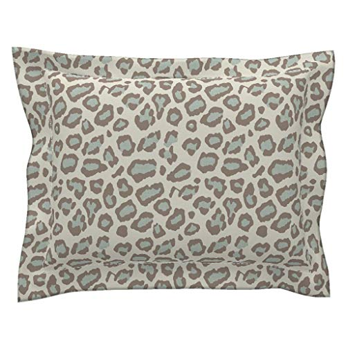 Flanged Sham - Roostery Spots Flanged Pillow Sham Leopard Blue Taupe Wallpaper Fabric by Willowlanetextiles 100% Cotton Sateen
