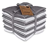 AMOUR INFINI Terry Dish Cloth   Set of 8   12 x 12 Inches   Durable, Super Soft and Absorbent  100% Cotton Dish Rags   Perfect for Household and Commercial Uses   Light Gray