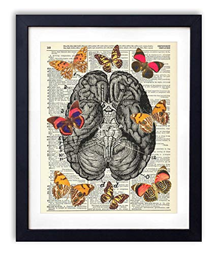 Butterflies On The Brain Upcycled Vintage Dictionary Art Print - Poster Butterfly Art