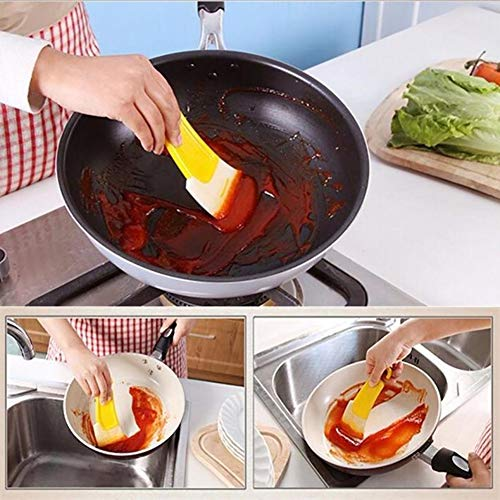 Cleaning Scraper,Maserfaliw Silicone Fry Pan Dish Non-stick Oil Cleaning Scraper Spatula Brush Kitchen Tool, Can Be Carried At Home Or On The Go.